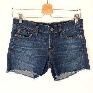 J. Crew Indigo Denim Shorts Taw Hem 25